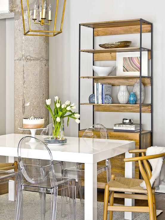 White Parsons Dining Table with Ghost Chairs and Wishbone Chairs ...
