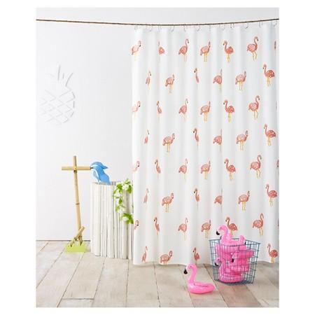 Ivory Flamingo Shower Curtain