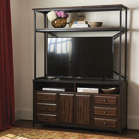 rustic wood matteo media console with hutch