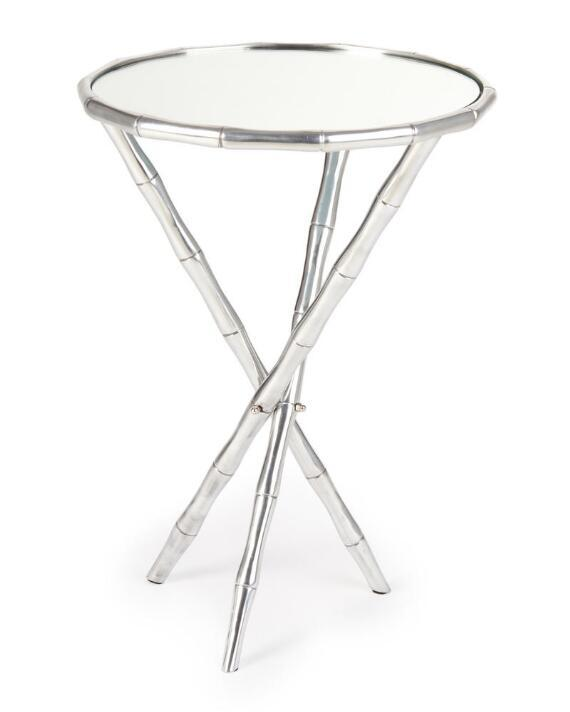 Round Silver Side Table With Tripod Base