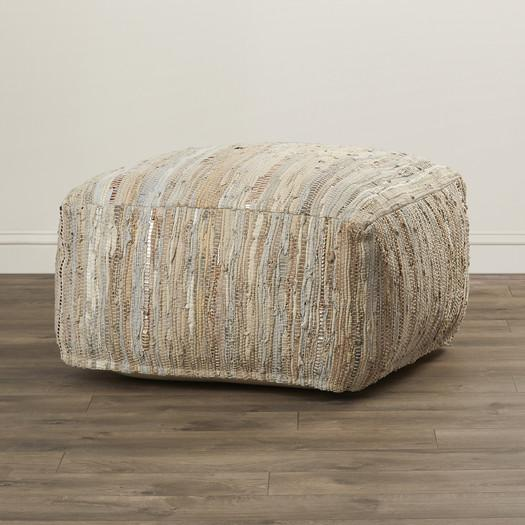 Pleasing Leather Woven Fabric Pouf Ottoman Evergreenethics Interior Chair Design Evergreenethicsorg