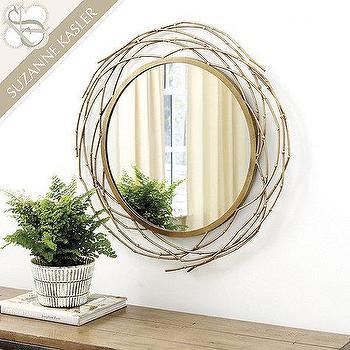 Gold Twig Round Wall Mirror