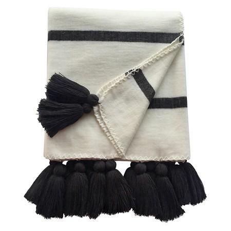 striped tassel black white throw blanket. Black Bedroom Furniture Sets. Home Design Ideas