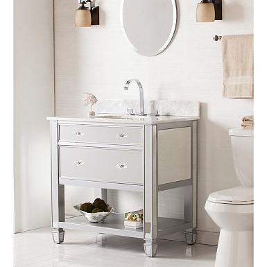 32 inch All-mirrored Austell Bathroom sink vanity Gold with Mirror