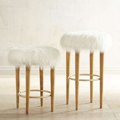 Faux Fur Bar Counter Stool