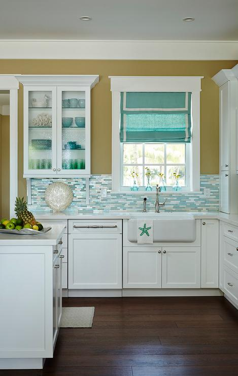 silver and blue mosaic kitchen backsplash tiles cottage kitchen