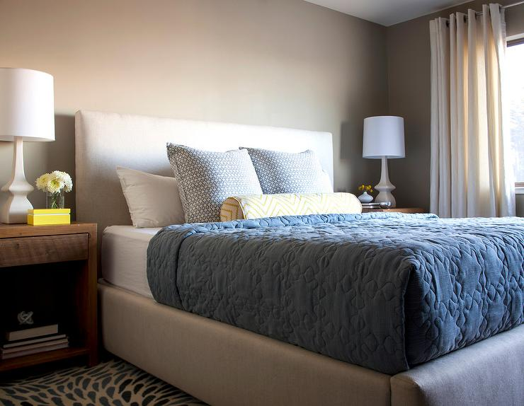 White And Beige Bedroom With Blue Bedding Transitional Bedroom Benjamin Moore Embassy Green