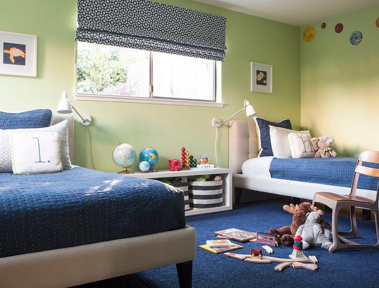 Blue and Green Shared Boys Bedroom - Transitional - Boy\'s Room ...