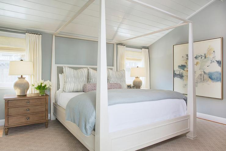 Bed With A Canopy white canopy bed with gray bedding - transitional - bedroom
