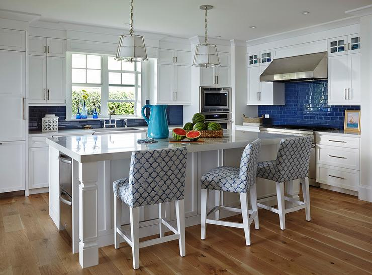 White Beach Cottage Kitchen With Cobalt Blue Subway Tiles