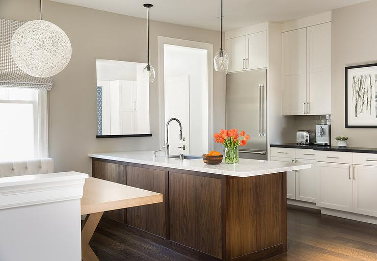 Remarkable White Kitchen Cabinets With Coffee Stained Peninsula Interior Design Ideas Gentotryabchikinfo