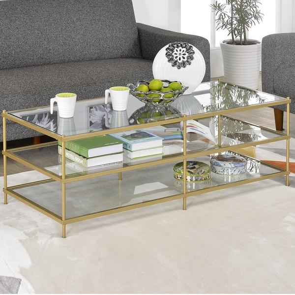 Simple 3 Layer Gold Glass Coffee Table