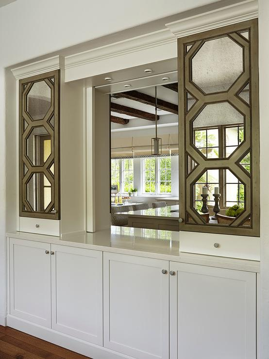 Kitchen Pass Through With Octagon Mirrored Cabinets View Full Size