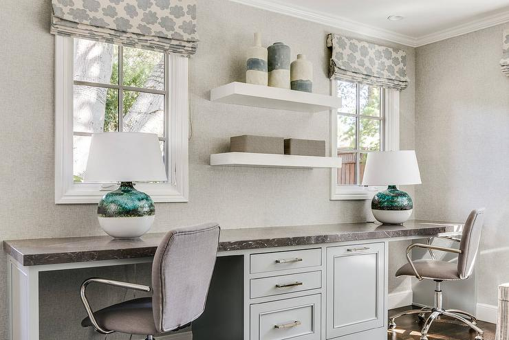 Light Gray Built In Desk For Two With Zinc Countertop
