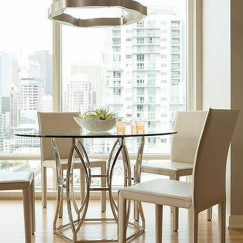 Worlds Away Abigail Silver Leaf Dining Table With Cream Leather Dining  Chairs View Full Size