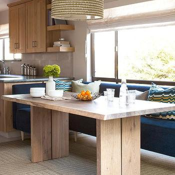 Blue Armless Dining Banquette With Crate And Barrel Dakota Dining Table