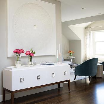 White Foyer Credenza With Square Ring Pulls