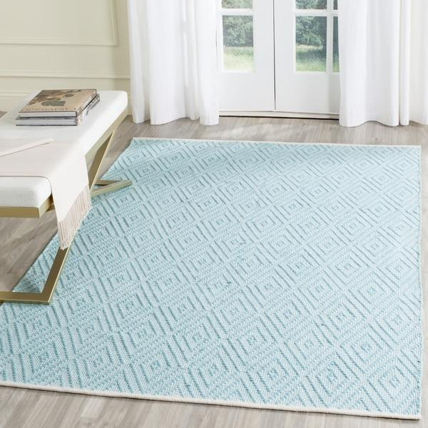 Hand Woven Montauk Turquoise Ivory Cotton Rug