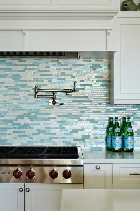 Unique Silver and Blue Mosaic Kitchen Backsplash Tiles - Cottage - Kitchen UZ98