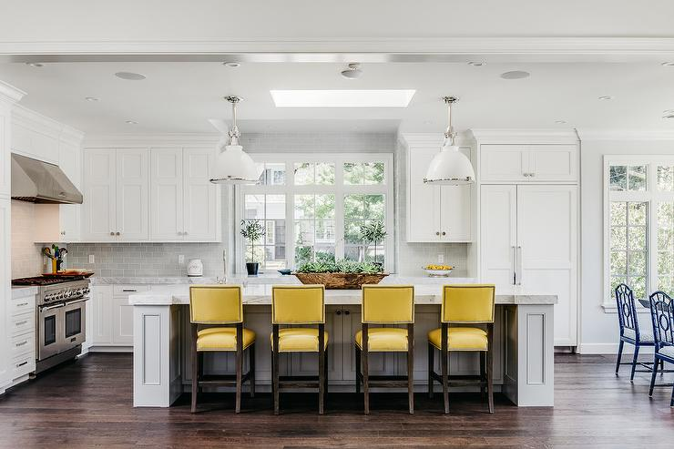 Greatest Light Gray KItchen Island with yellow Leather Counter Stools  YY53