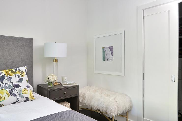 Charcoal Gray Bedroom with Yellow Accents - Transitional - Bedroom