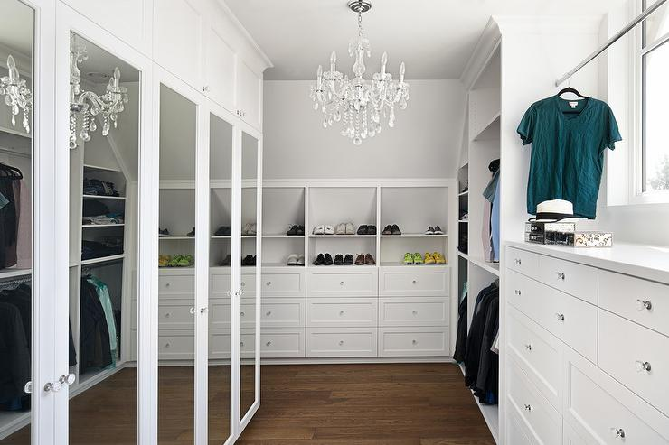 Closet With Built In Shoe Shelves Over Dresser