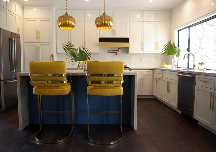 Waterfall Kitchen Island With Hollywood Regency Yellow