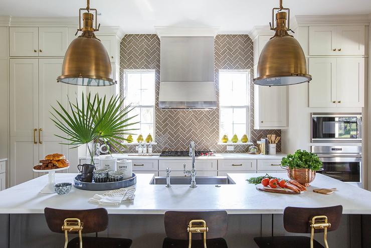 Kitchen Backsplash Height full height gray herringbone kitchen backsplash - transitional