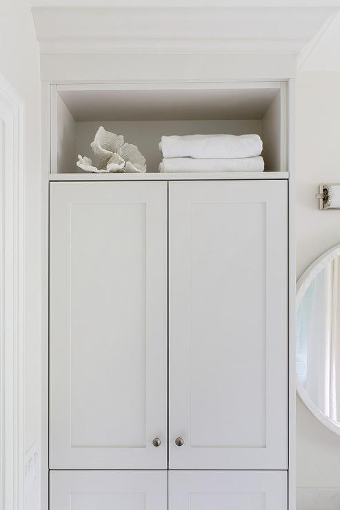 Shelf Over Light Gray Bath Linen Cabinets Transitional