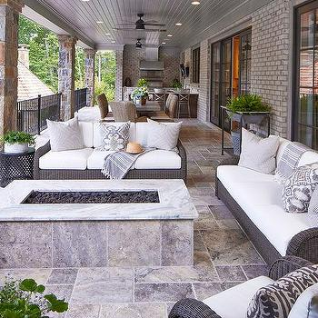 Long Covered Patio With Stone Pillars