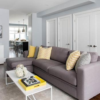 Good Gray Sofa With Chaise Lounge And Yellow Pillows