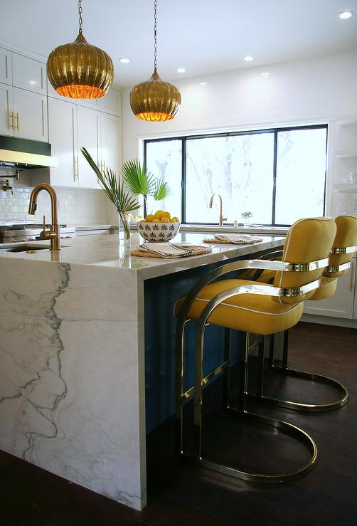 Blue gray kitchen island with brass t pulls hollywood for Kitchen 24 hollywood
