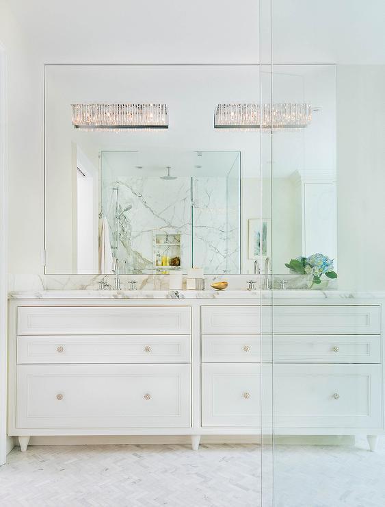 Mirror On Top Of Vanity Mirror Transitional Bathroom