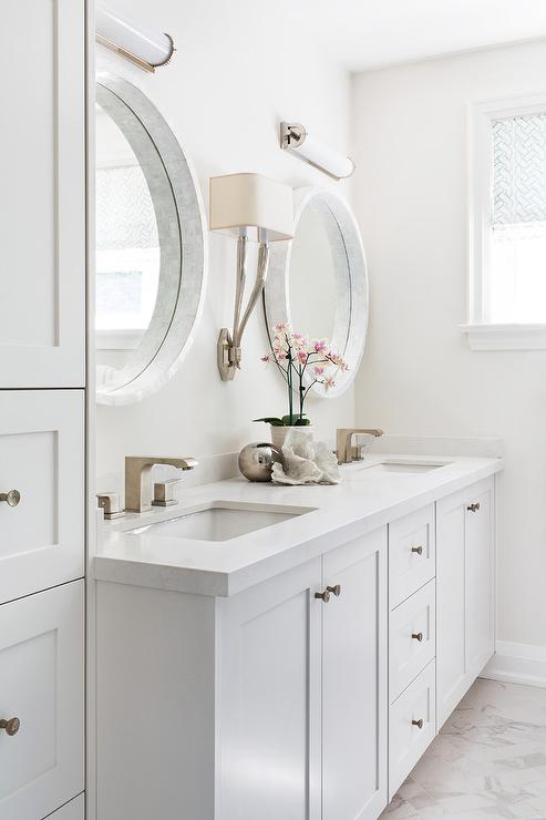 Side by side medicine cabinets transitional bathroom - Round mirror over bathroom vanity ...