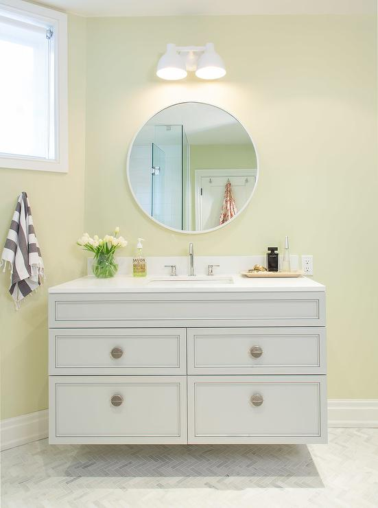 Gray And Pale Yellow Bathroom Amazing Design Ideas
