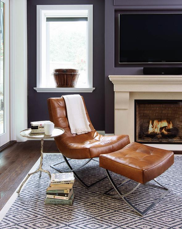 Super Cognac Leather Tufted Chair And Ottoman And Silver Leaf Twig Ibusinesslaw Wood Chair Design Ideas Ibusinesslaworg