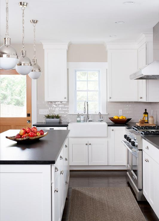 Black Kitchen Island With Black Cup Pull Hardware: Light Gray Glazed Kitchen Tiles With White Shaker Cabinets