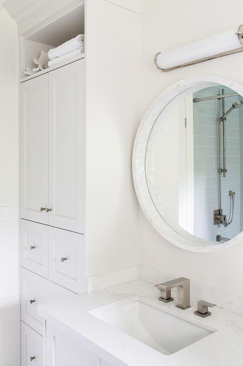 Round White Marble Mirror With Pale Gray Bath Vanity View Full Size