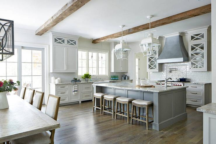 Ordinaire Gorgeous Gray And White Transitional Kitchen With Rustic Accents Features  Wood And Fabric Saddle Stools Placed In Front Of A Gray Center Island  Finished ...