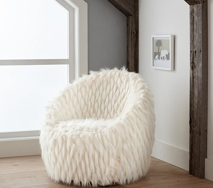 white faux fur chair Faux Fur Lounge White Chair white faux fur chair