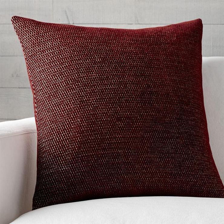 Maura Jacquard Woven Chenille Yarn Red Pillow