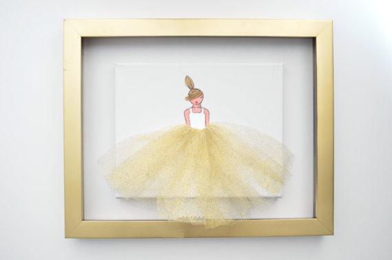 Glitter Gold Ballerina Wall art