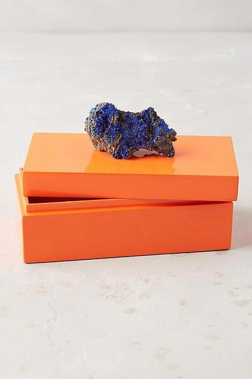 Glass Oblong Orange Jewelry Box