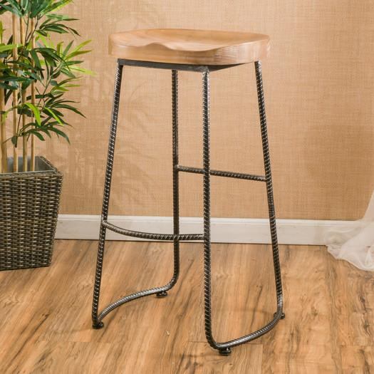 Rustic Wood Gonesse Bar Stool