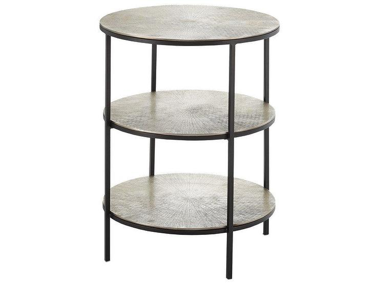 Popular Cane Black Silver Tiered Accent Table ZE97