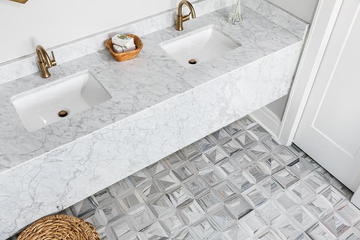 Marble Floating Washstand With Gray Marble Prism Floor Tiles
