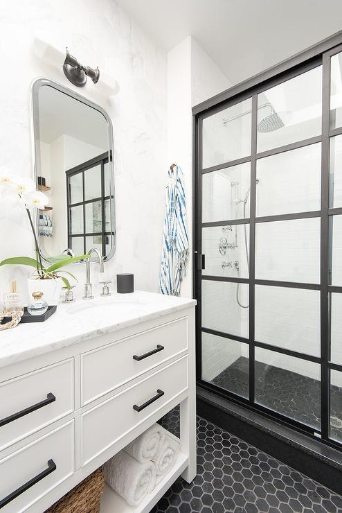 White Bath Vanity With Black Hex Tile Floor Transitional