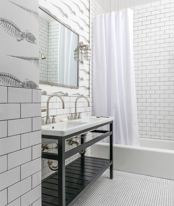 Black And White Bathroom Floor Tiles Design Ideas
