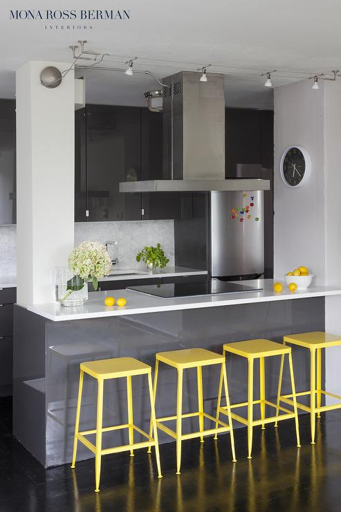 Dark Gray Lacquer Kitchen Cabinets Contemporary Kitchen
