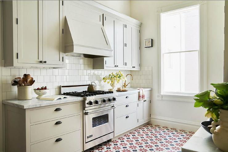 Light Gray Kitchen With Red And Black Mosaic Tile Floor